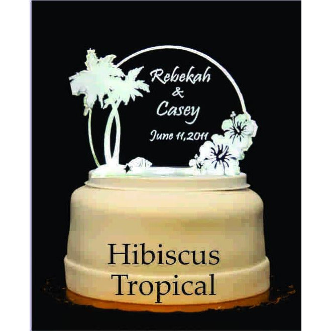 Hibiscus Tropical Light-Up Wedding Cake Topper