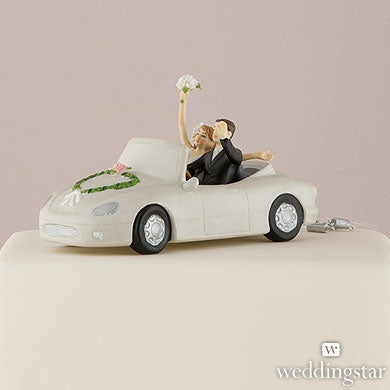 """Honeymoon Bound"" Couple in Car Cake Topper"