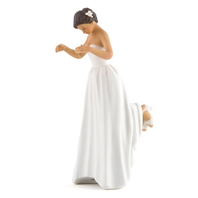 Interracial Bride and Bald African American Groom Wedding Cake Topper