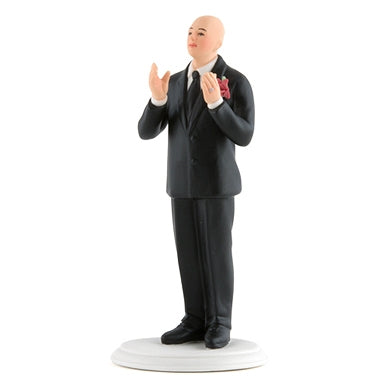 Bald Groom and Bride Wedding Cake Topper