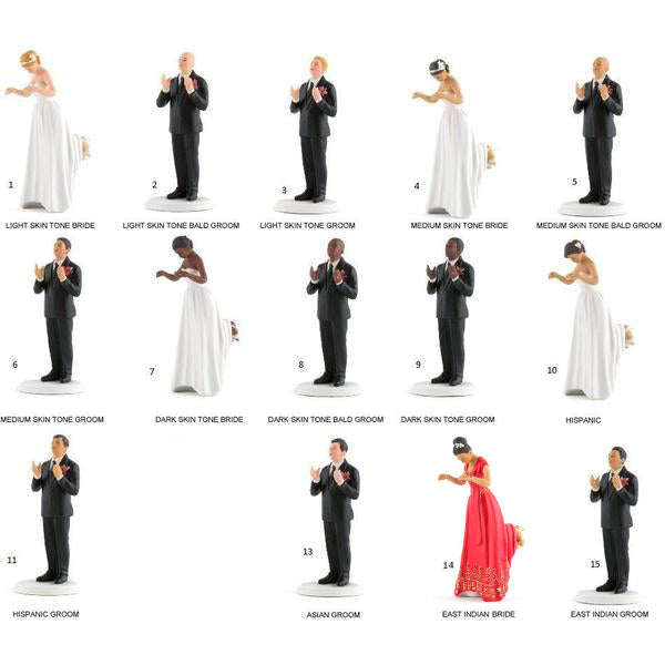 Interchangeable True Romance Interracial Bride And Groom Cake Toppers