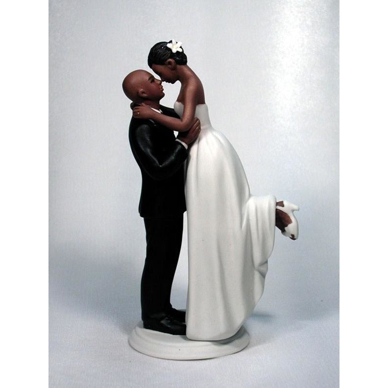 African American Bride and Bald Groom Wedding Cake Topper