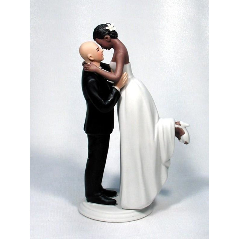 Interracial Bride and Bald Caucasian Groom Wedding Cake Topper