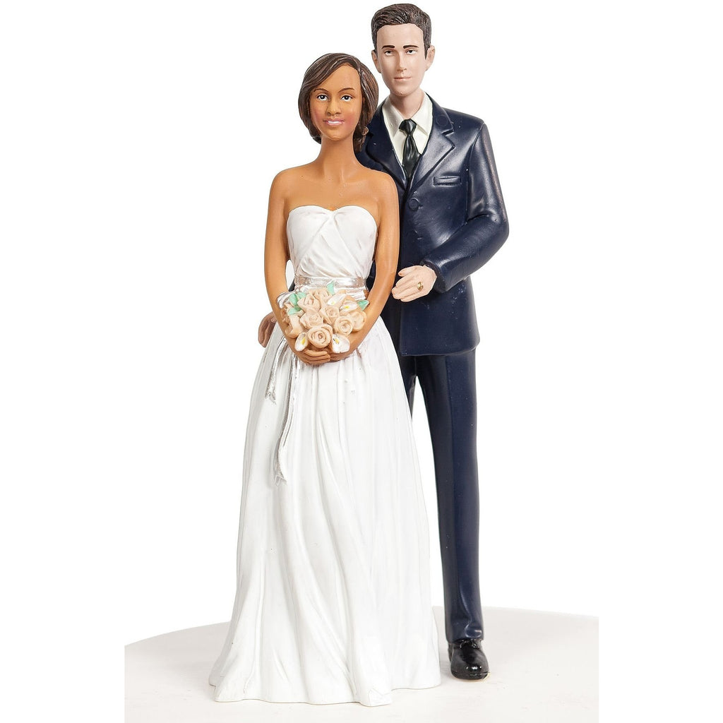 Interracial Bride and Groom Calla Lily Arch Wedding Cake Topper - Groom in Navy Suit