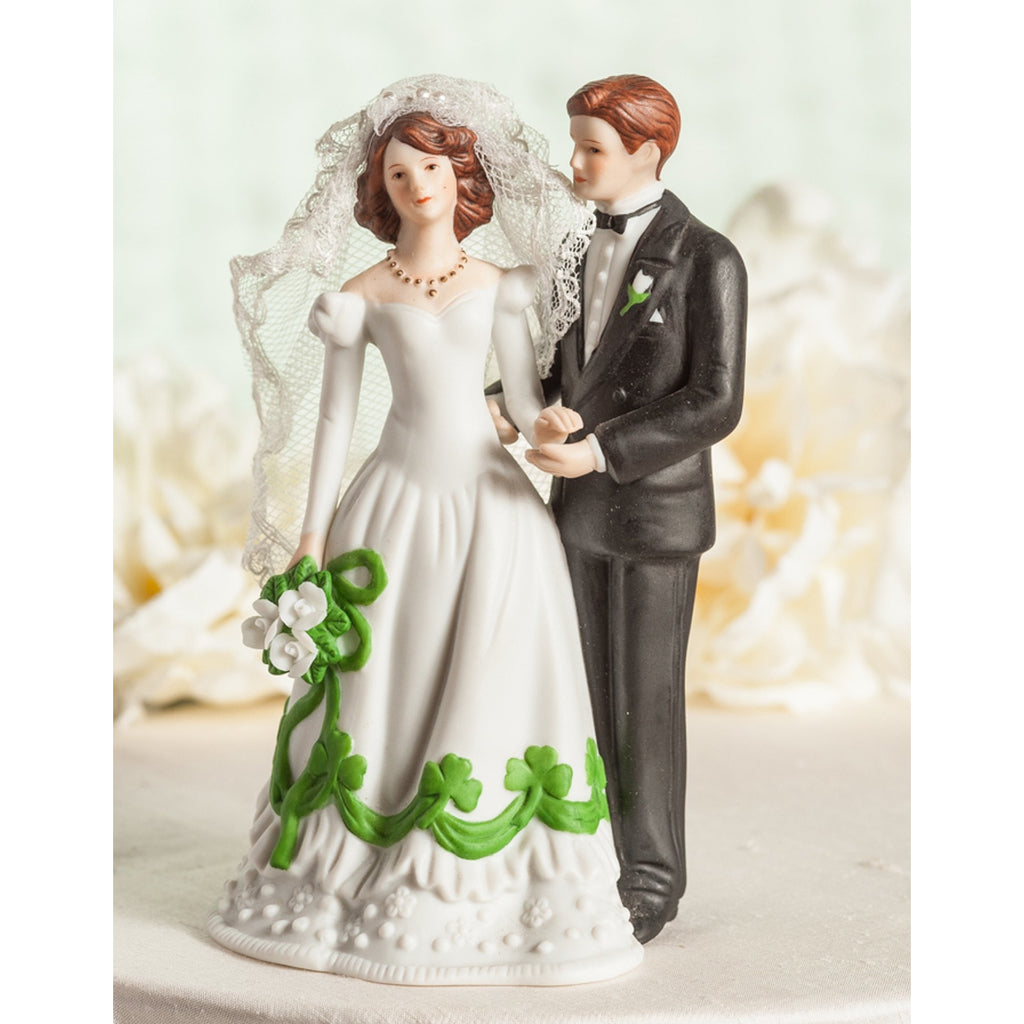 Irish Bride and Groom Shamrock Accent Wedding Cake Topper Figurine