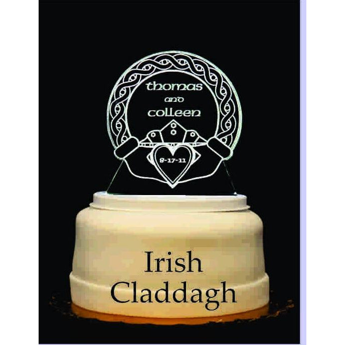 Irish Claddagh Light-Up Wedding Cake Topper