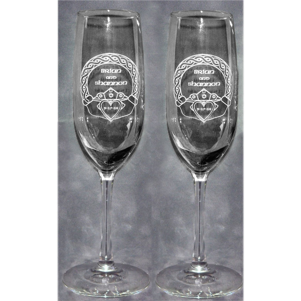 Irish Claddaugh Wedding Champagne Glass Flutes (Pair)