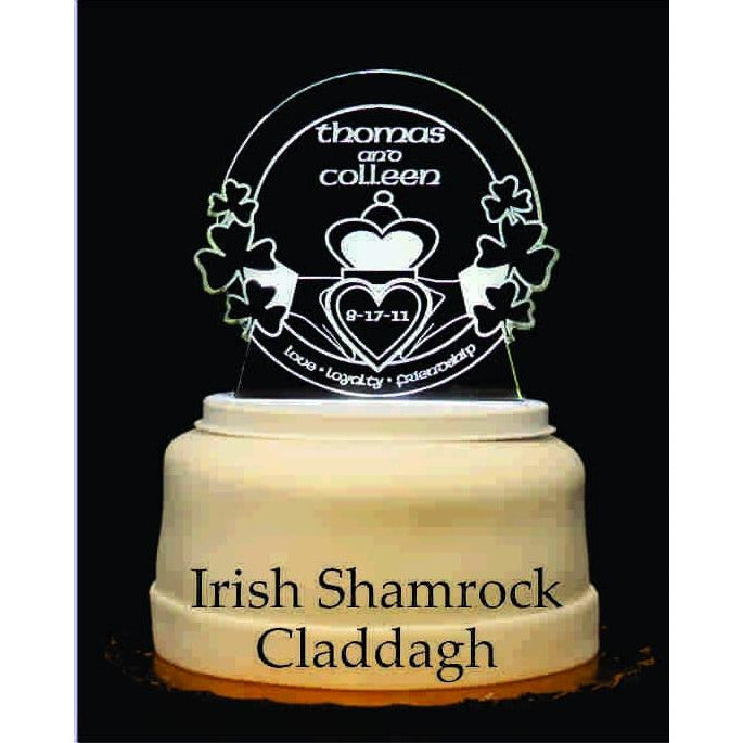 Irish Shamrock Claddagh Light-Up Wedding Cake Topper