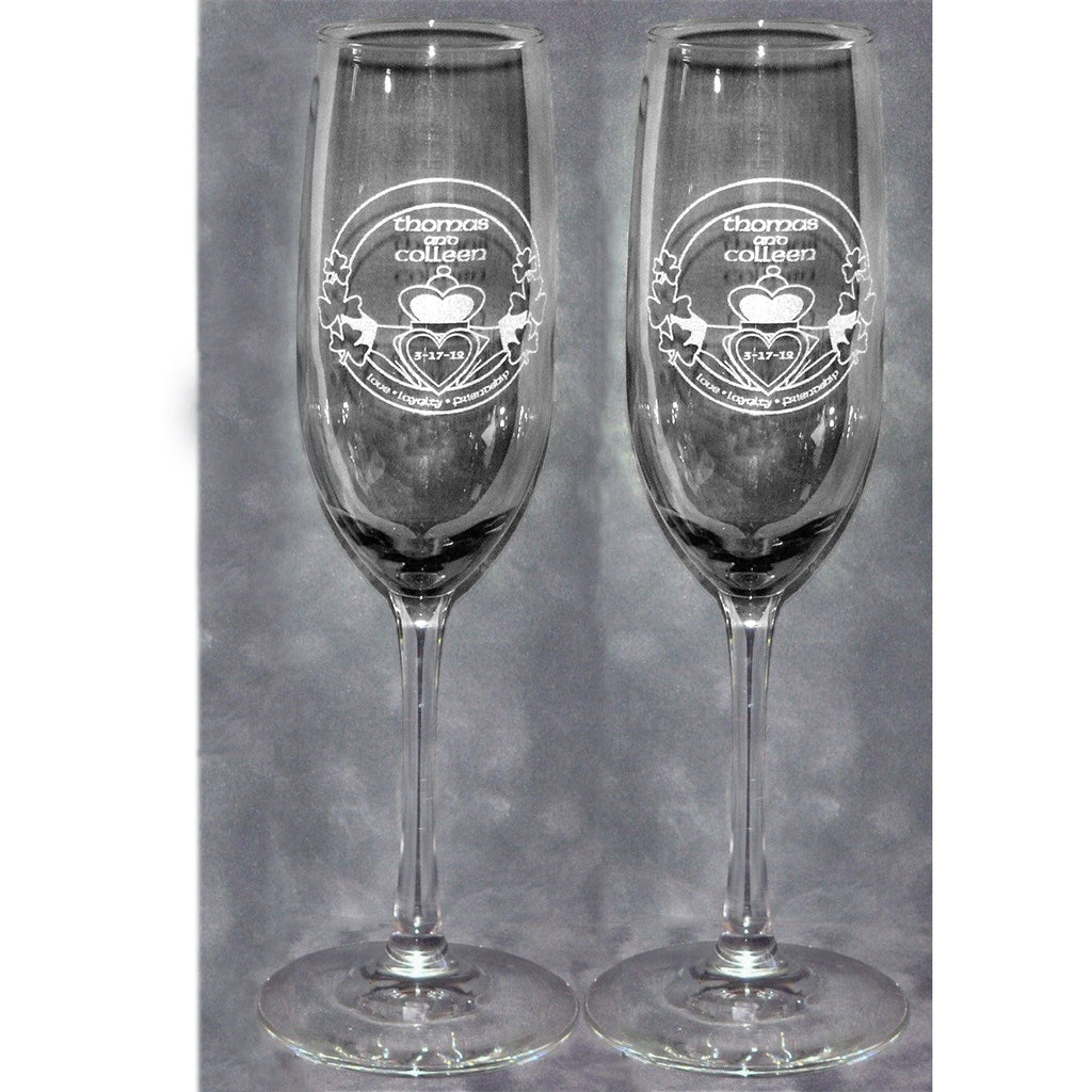 Irish Shamrock Claddaugh Wedding Champagne Glass Flutes (Pair)