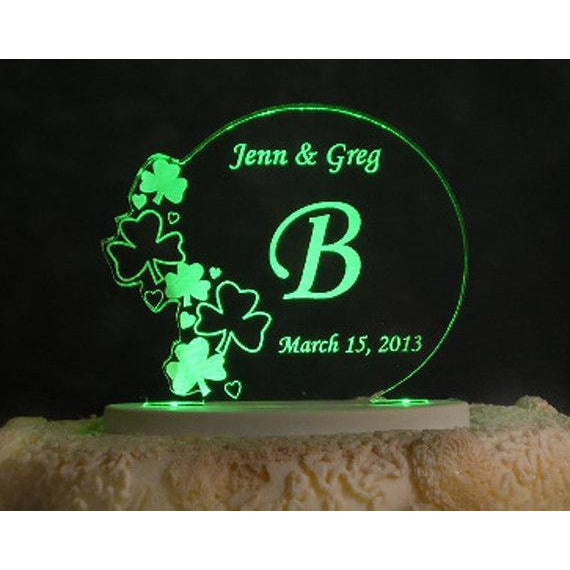 Irish Shamrock Love Light-Up Wedding Cake Topper