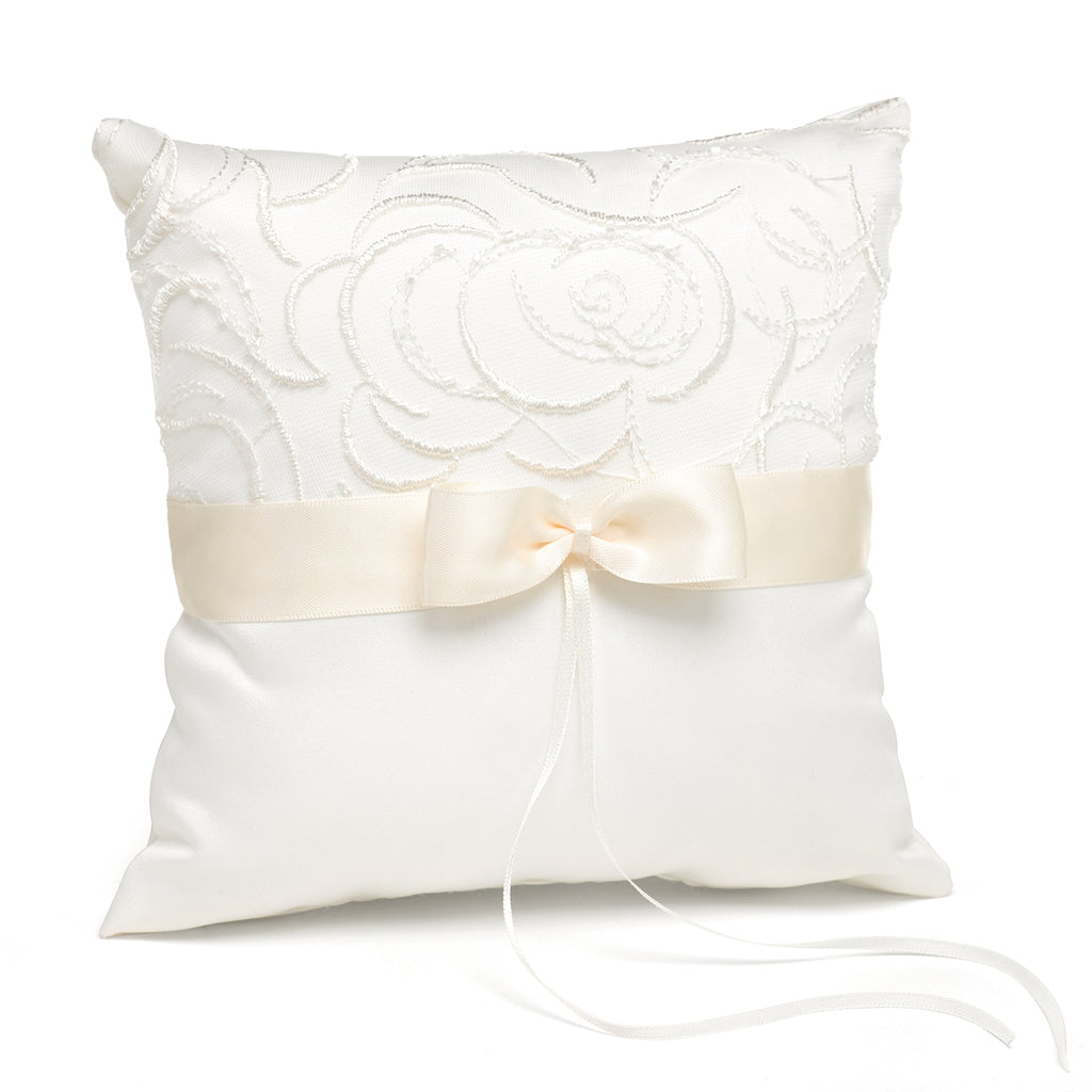 Ivory Satin & Swirls Pillow
