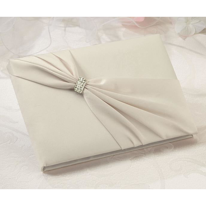 Ivory Satin Rhinestone Wedding Guestbook