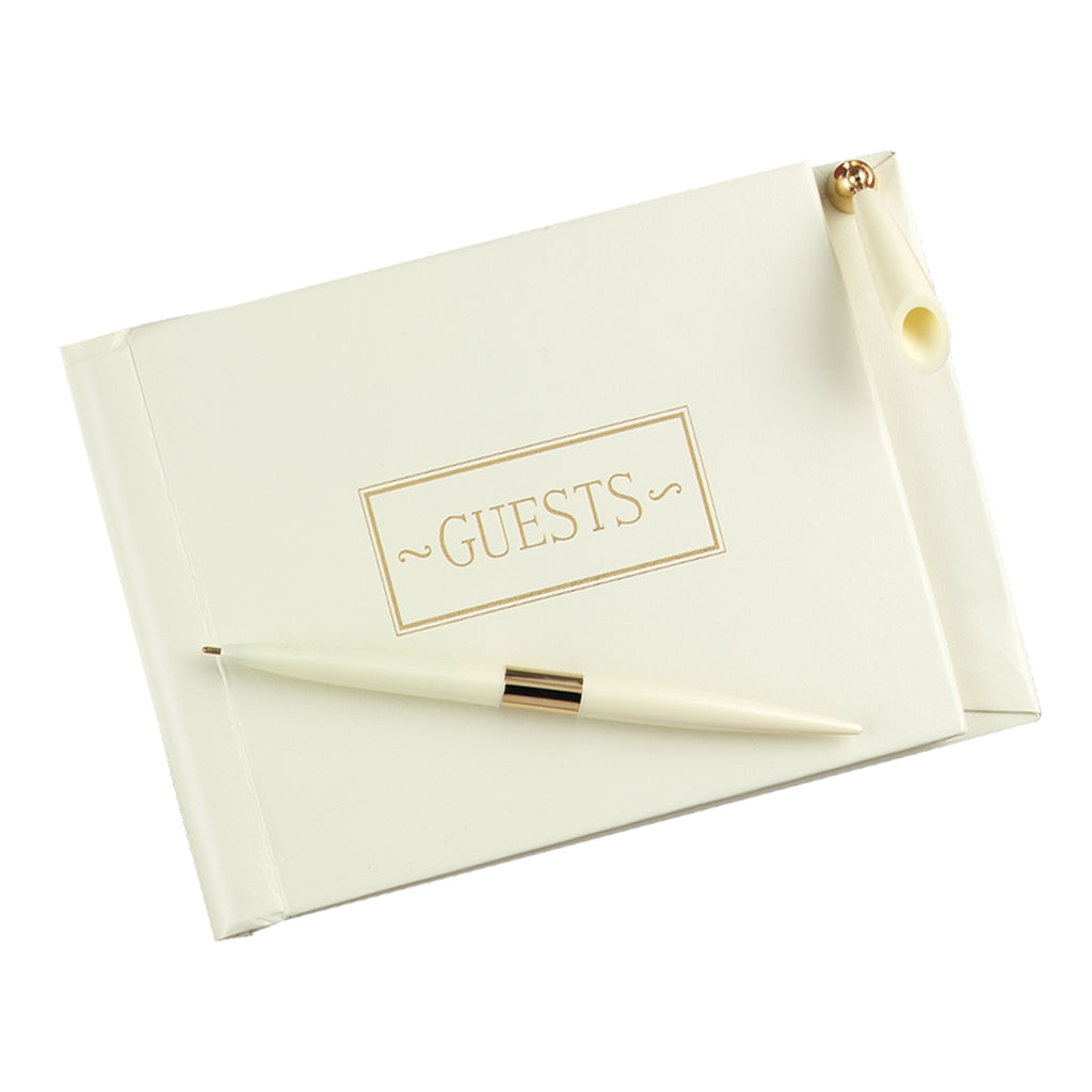 Ivory Small Guest Book w/Pen