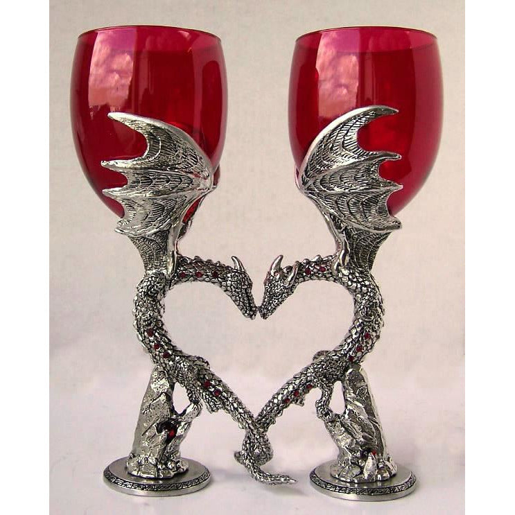 Dragon Heart Wing Wine Wedding Toasting Glasses Set