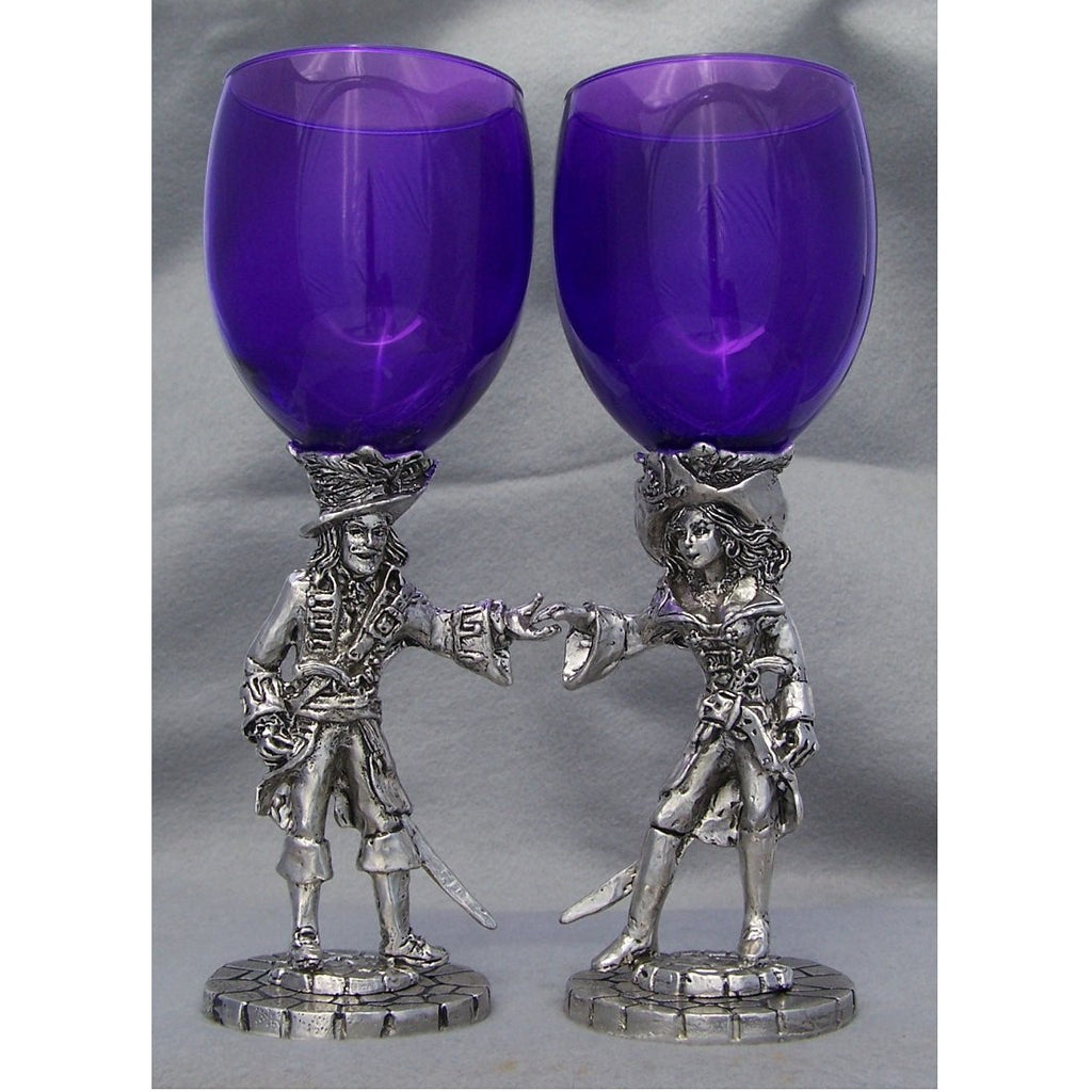 Pirate Heart Pair Wedding Toasting Glasses Set (2 Glasses)