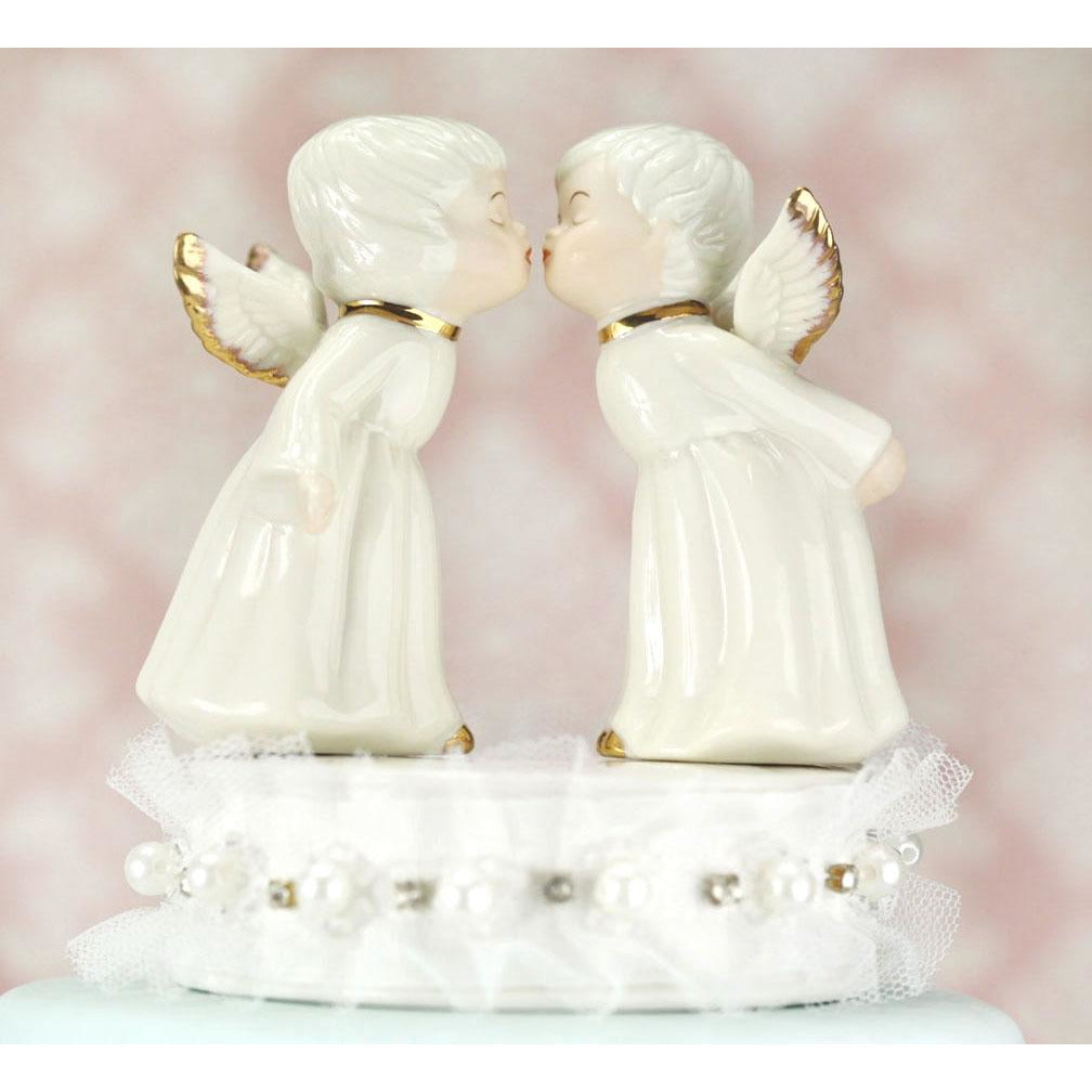 Kissing Cherub Angels Wedding Cake Topper