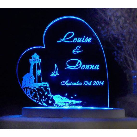 LIGHTHOUSE - Seashore -Nautical Light-Up Wedding Cake Topper