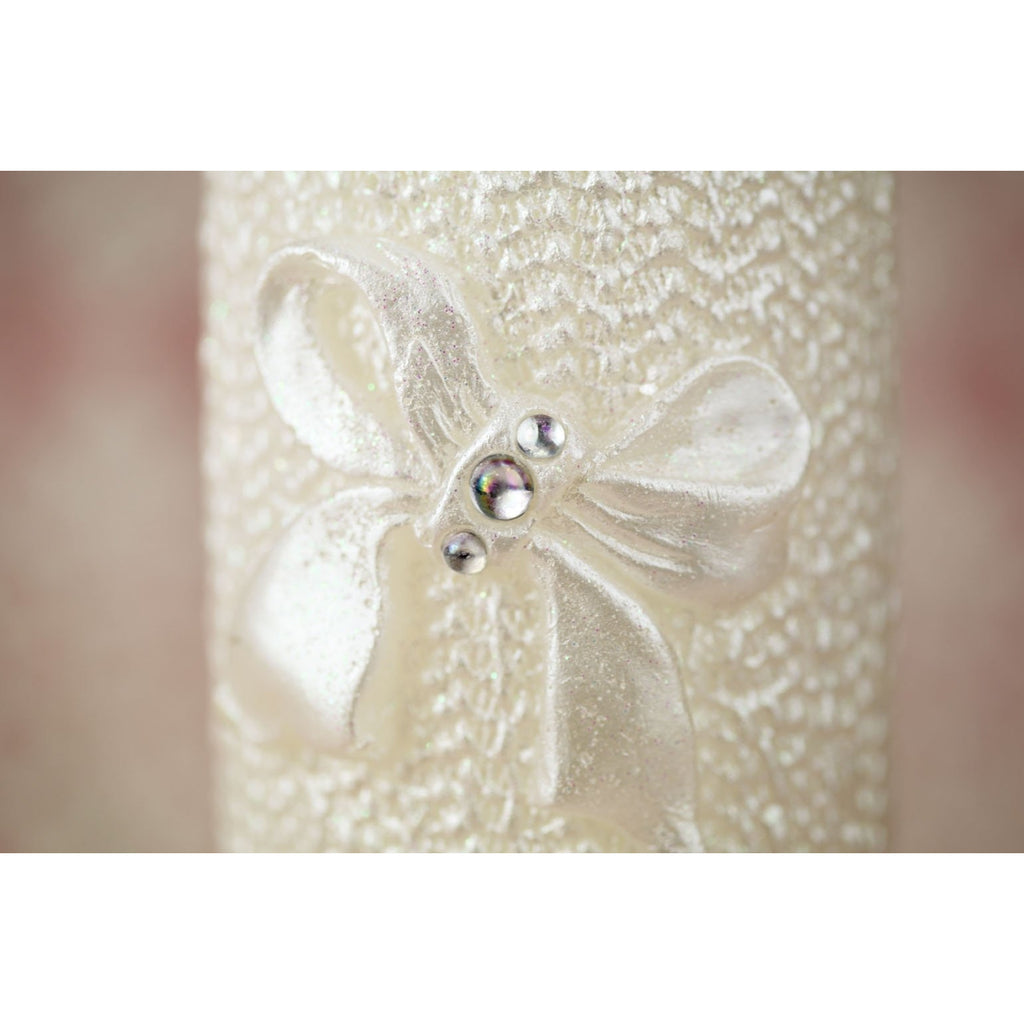 Lace and Bow Wedding Unity Candle