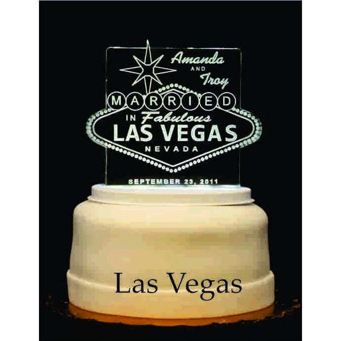 Las Vegas Light-Up Wedding Cake Topper