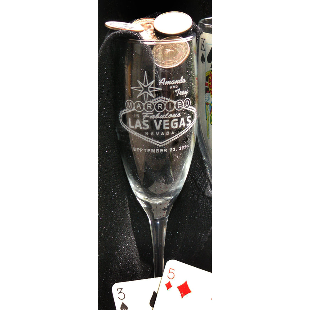 Las Vegas Toasting Wedding Champagne Glass Flutes (Pair)