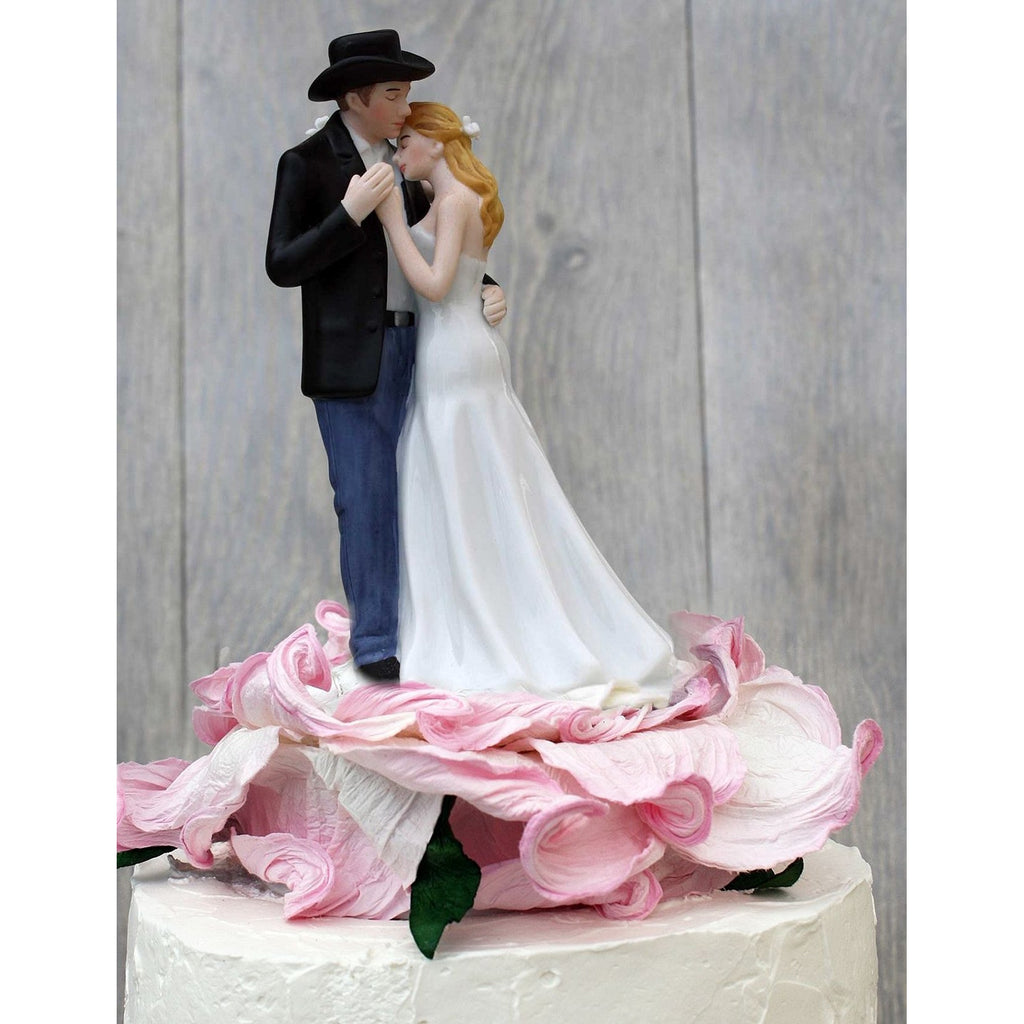Lasso of Love Pink Rose Blossom Western Wedding Cake Topper