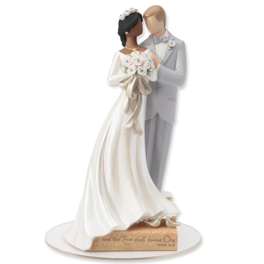 Legacy of Love Interracial Wedding Cake Topper Figurine - African American Bride and Caucasian Groom