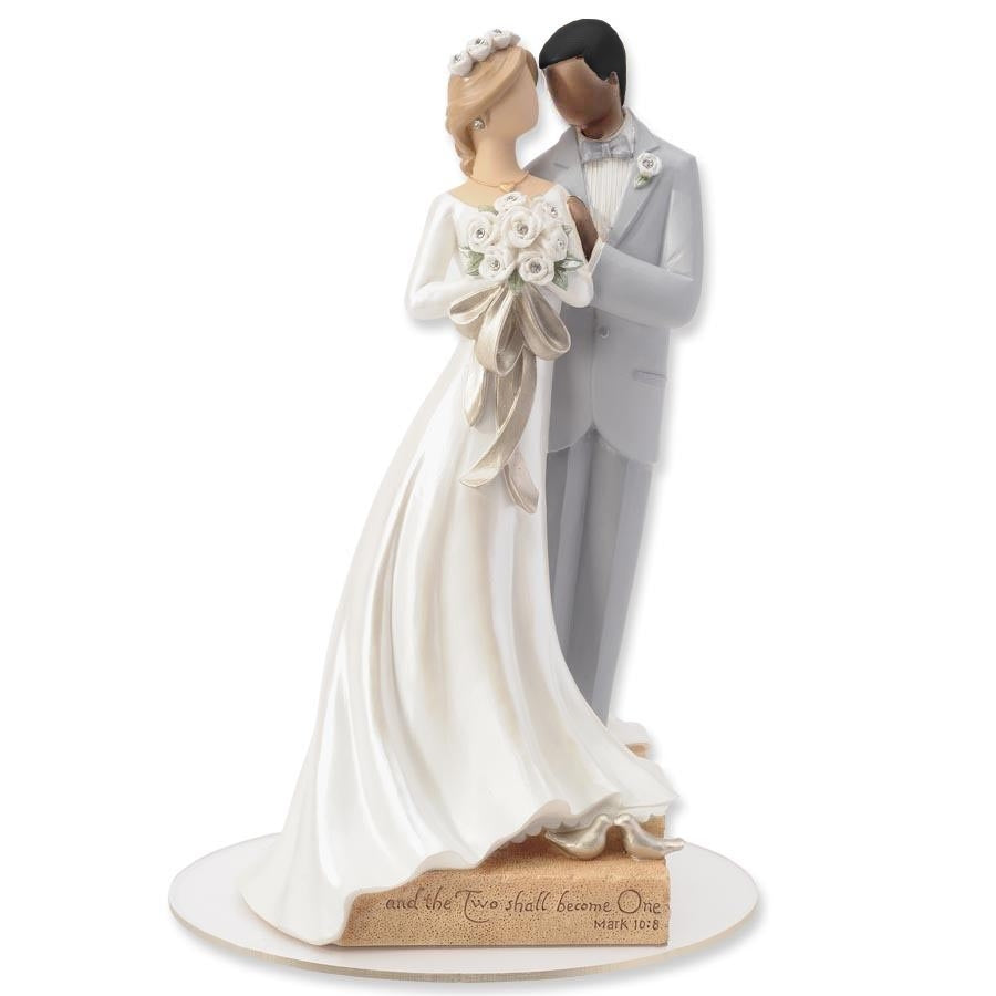 Legacy of Love Interracial Wedding Cake Topper Figurine - African American Groom and Caucasian Bride
