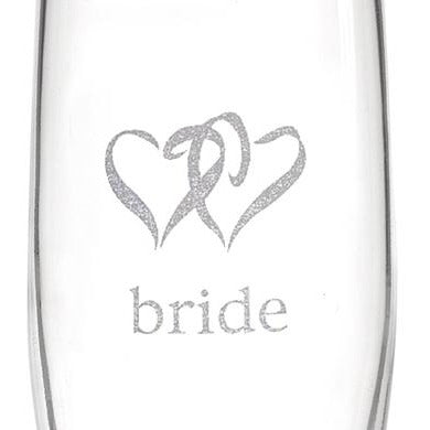 Linked Heart Bride & Groom Flutes