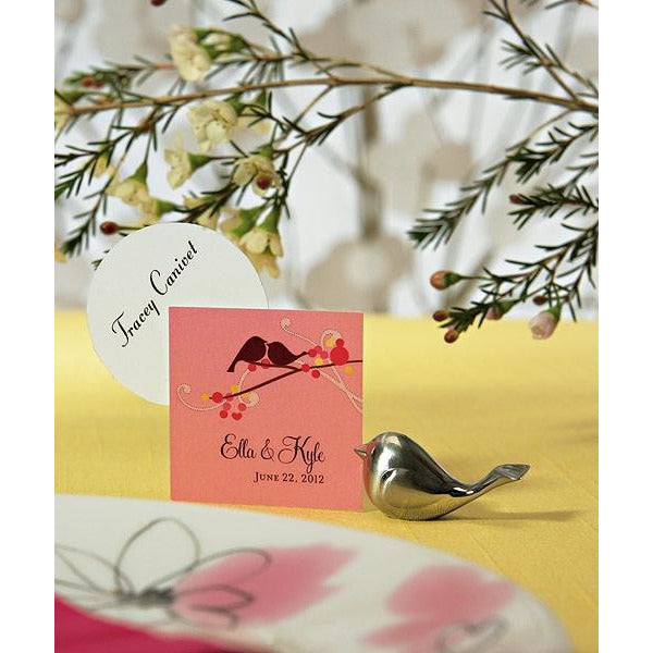 Love Bird Card Holders with Brushed Silver Finish