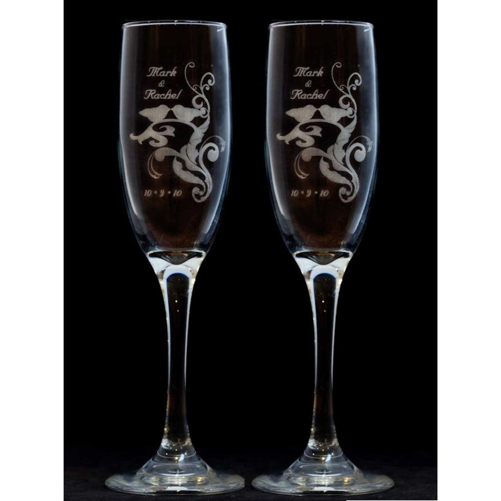 Love Birds Silhouette Toasting Wedding Champagne Glass Flutes (Pair)