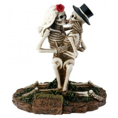 Love Never Dies Skulls Making Out Wedding Cake Topper
