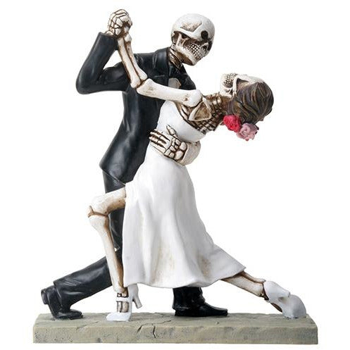 Love Never Dies Skulls Dancing Wedding Cake Topper