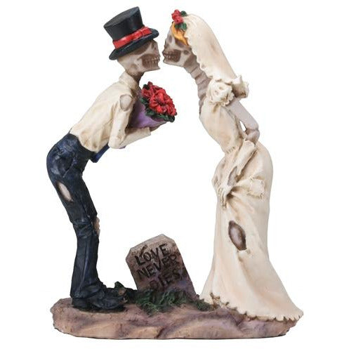 Love Never Dies Skulls Wedding Kiss Wedding Cake Topper