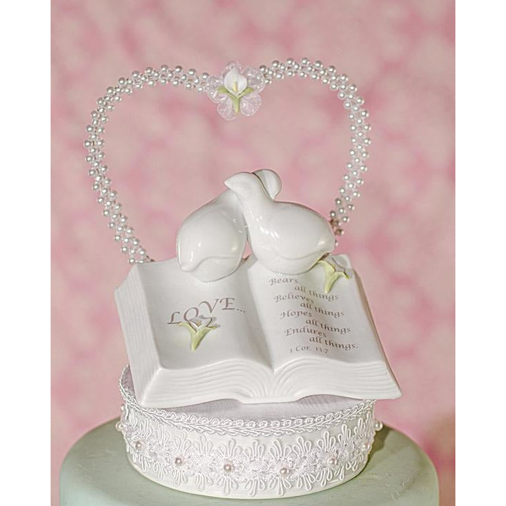 Love Verse Bible Cake Topper with Doves and Flower Accents