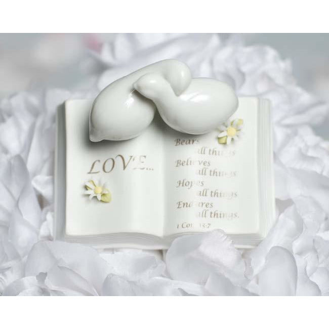 Love Verse Bible with Doves and Flower Accents Wedding Cake Topper