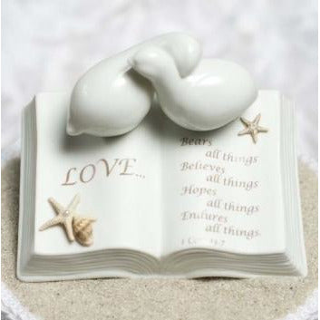 Love Verse Bible with Doves and STARFISH BEACH Accents Wedding Cake Topper