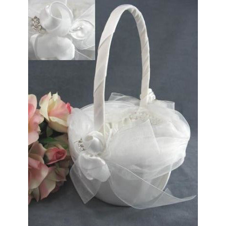 Luxe Satin Rose and Rhinestone Wedding Flowergirl Basket