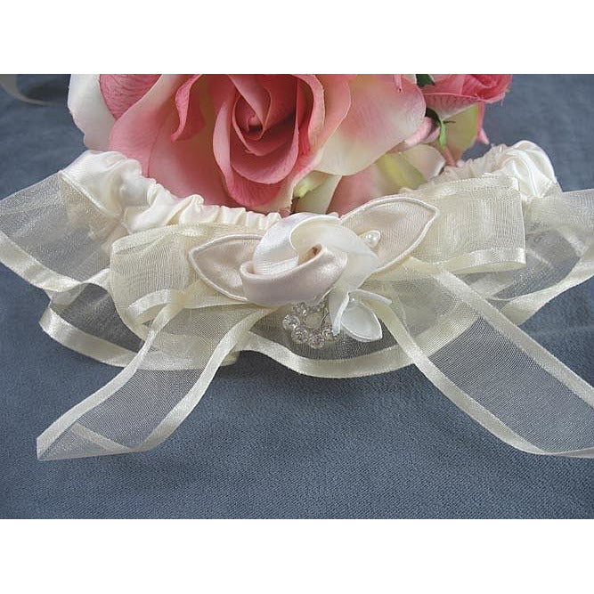 Luxe Satin Rose and Rhinestone Wedding Garter