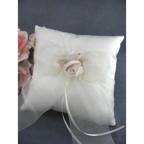 Luxe Satin Rose and Rhinestone Wedding Ring Bearer Pillow