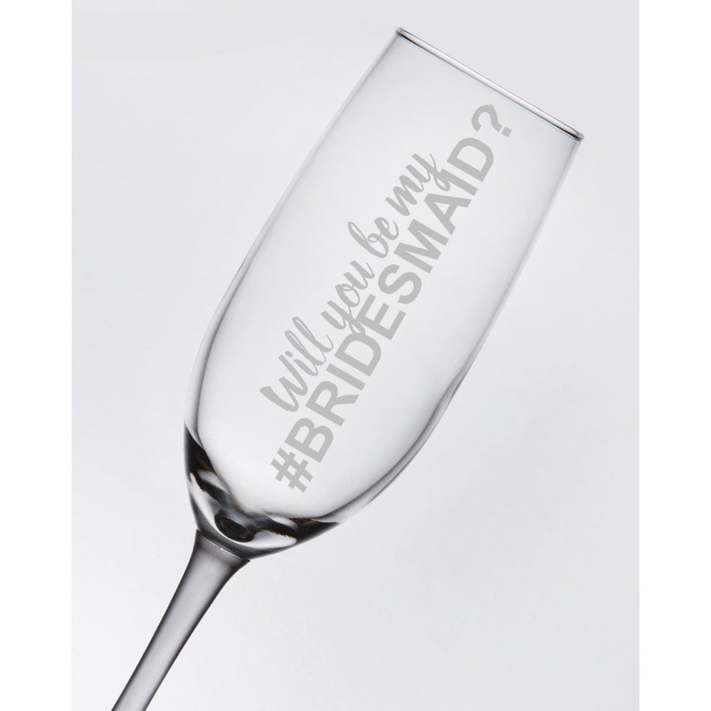 Bridesmaid Toasting Glass - Will You Be My Bridesmaid Champagne Flute - (ONE) Engraved Toasting Flute - Will You Be My #Bridesmaid - Bridesmaid Proposal - Bridal Party Gift