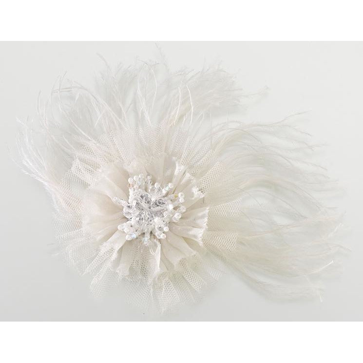 Marabou Feather Hair Clip-Ivory