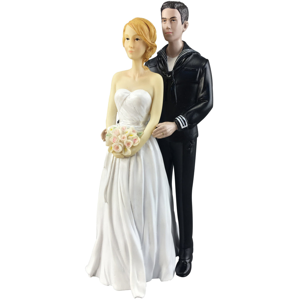 Navy Wedding Cake Topper - Caucasian Bride and Groom