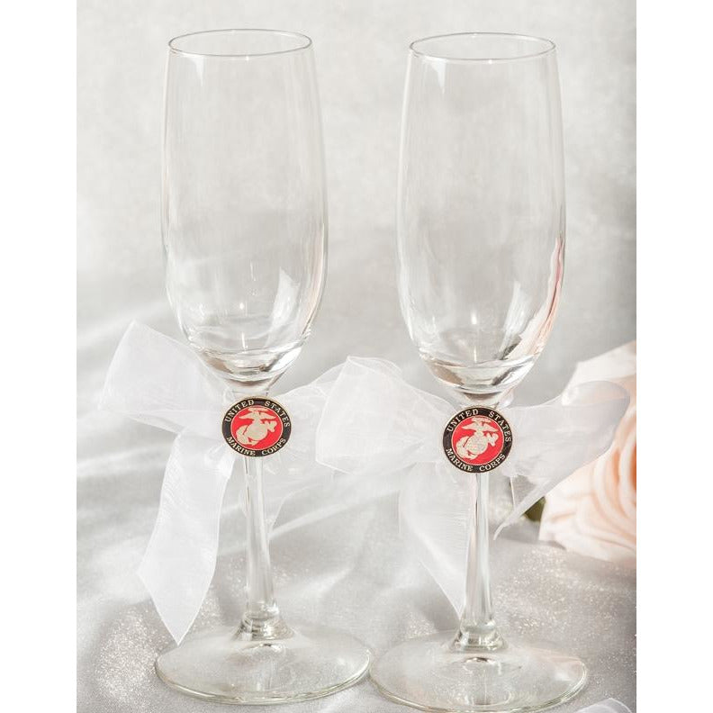 Military- Air Force - Navy - Army - Marines Wedding Toasting Glasses