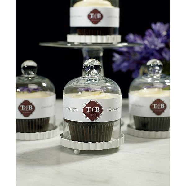 Miniature Bell Jar with White Fluted Base Wedding Favor - Set of 4