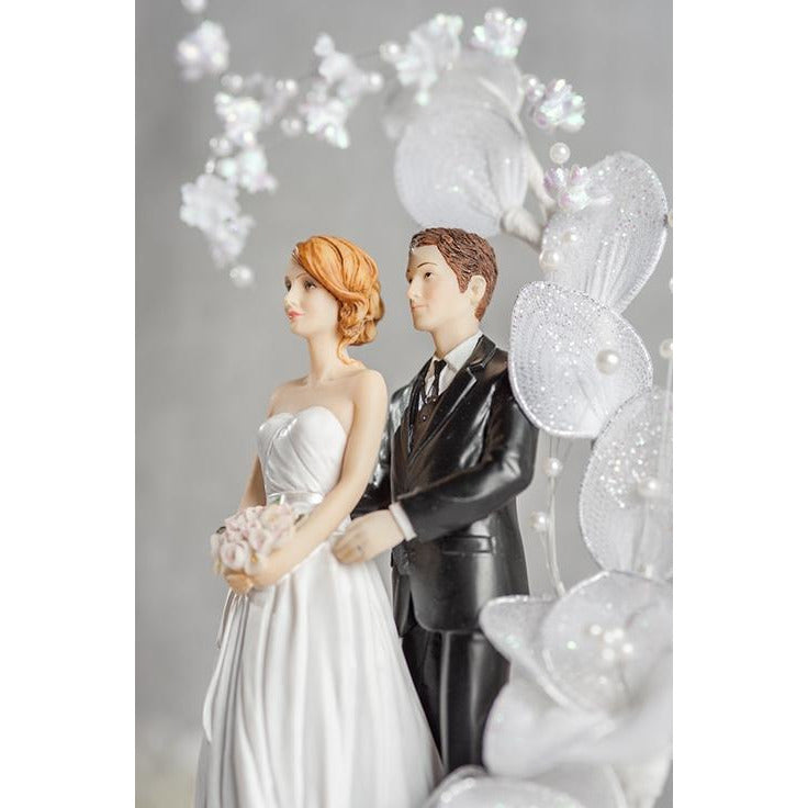 Contemprary Bride and Groom Vintage Glitter Flower Arch Wedding Cake Topper - Groom in Navy Suit