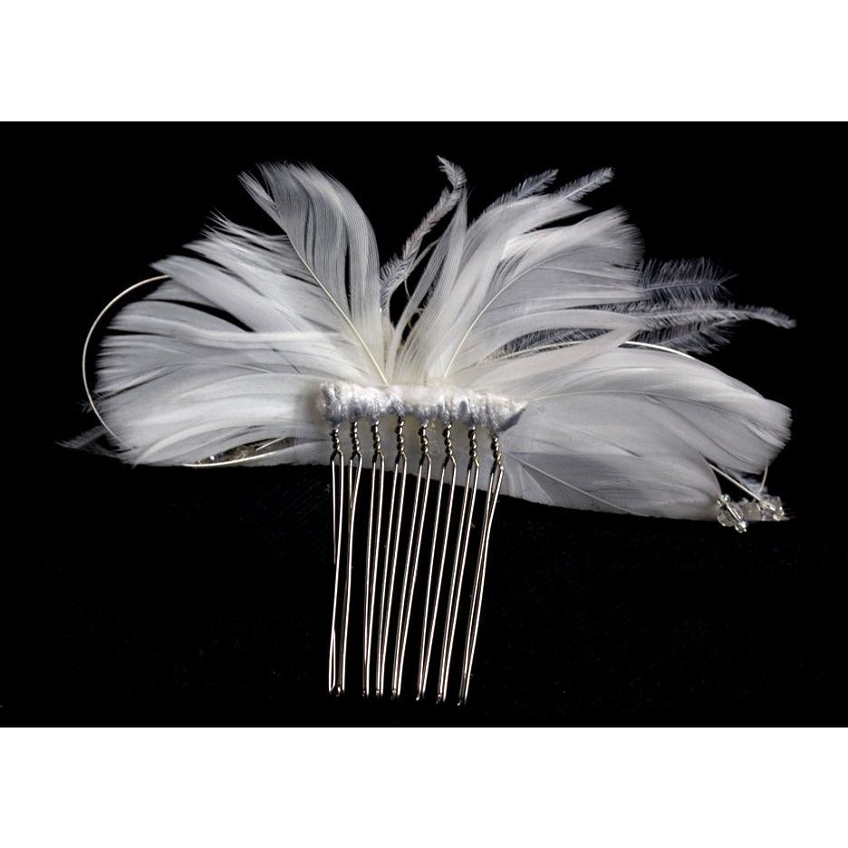 Modern Chic Feather and Crystal Comb