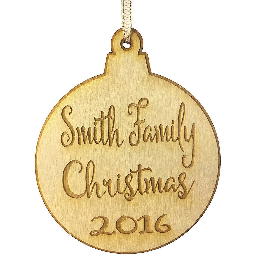 Our Family Christmas Personalized Christmas Ornament - Last Name and Year Engraved Holiday Wood Custom Personalized