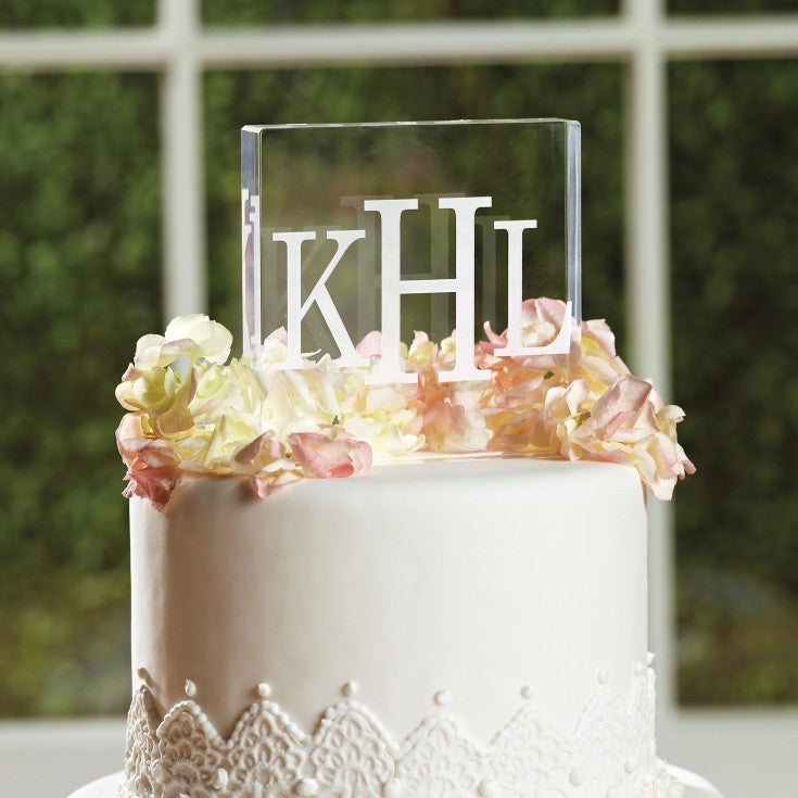 Block Monogram Acrylic Square Cake Topper