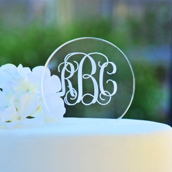 Monogram Acrylic Circle Cake Topper