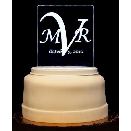 Monogram Contemporary Light-Up Wedding Cake Topper